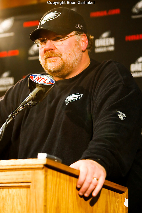11 Jan 2009: Philadelphia Eagles Head Coach Andy Reid during a press conference after the game against the New York Giants on January 11th, 2009.  The  Eagles won 23-11 at Giants Stadium in East Rutherford, New Jersey.
