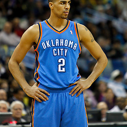 January 24,  2011; New Orleans, LA, USA; Oklahoma City Thunder shooting guard Thabo Sefolosha (2) against the New Orleans Hornets during the first half at the New Orleans Arena. The Hornets defeated the Thunder 91-89. Mandatory Credit: Derick E. Hingle