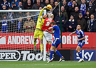 Simon Makienok of Charlton Athletic puts goalkeeper Dean Gerken of Ipswich Town under pressure during the Sky Bet Championship match at The Valley, London<br /> Picture by Alan Stanford/Focus Images Ltd +44 7915 056117<br /> 28/11/2015