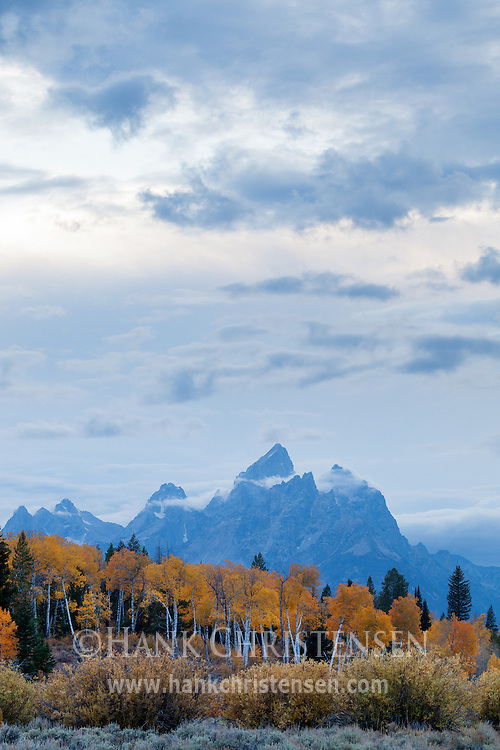 Storm clouds drift high above the tetons, Grand Teton National Park