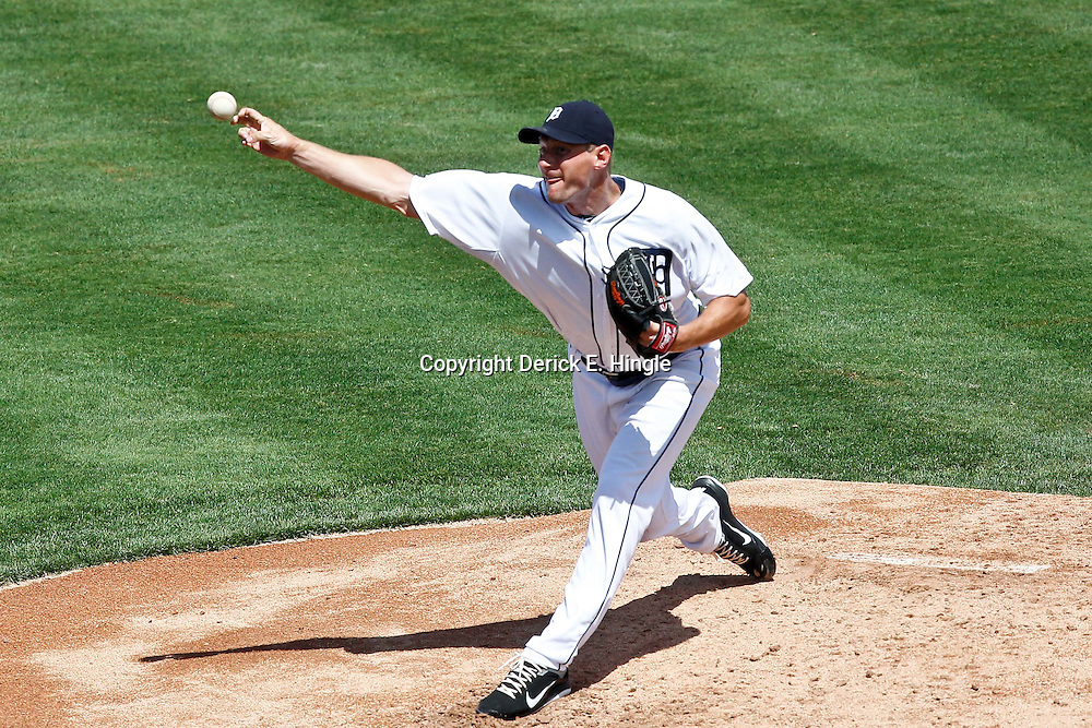 March 14, 2012; Lakeland, FL, USA; Detroit Tigers starting pitcher Max Scherzer (37) throws during the top of the second inning of a spring training game against the New York Mets at Joker Marchant Stadium. Mandatory Credit: Derick E. Hingle-US PRESSWIRE