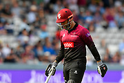 Wicket - Peter Trego of Somerset looks dejected as he walks back to the pavilion after being dismissed by James Fuller of Hampshire during the Royal London 1 Day Cup Final match between Somerset County Cricket Club and Hampshire County Cricket Club at Lord's Cricket Ground, St John's Wood, United Kingdom on 25 May 2019.