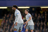 Ashley Williams of Everton (l) looks on. <br /> EFL Carabao Cup 4th round match, Chelsea v Everton at Stamford Bridge in London on Wednesday 25th October 2017.<br /> pic by Kieran Clarke, Andrew Orchard sports photography.