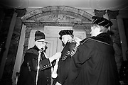 19/05/1966<br /> 05/19/1966<br /> 19 May 1966<br /> President Eamon de Valera receives Honorary Doctorate from the University of Louvain, Belgium at a conferring ceremony at the Department of External Affairs in Dublin. Picture shows  Right Reverend  Monsignor Louis De Raeymaeker, (left) Pro-Rector of The University of Louvain assisted by Profeeor Michel Woitrin, (right) Administrator General, conferring the honorary doctorate on President de Valera.