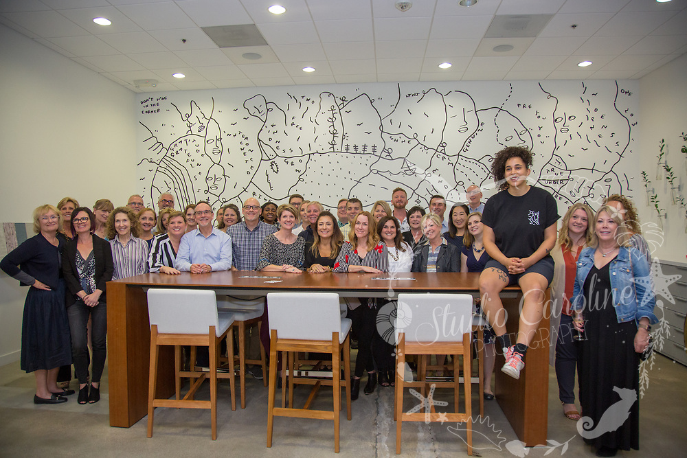 Momentum Group & Shantell Martin in front of her live drawing launching the new Shantell Martin Collection with Momentum Group Textiles. Photography: StudioCarolinePhoto.com Copyright 2019.