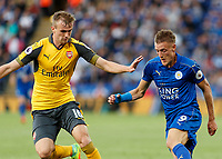 Football - 2016/2017 Premier League - Leicester Ciity V Arsenal. <br /> <br /> Jamie Vardy of Leicester City and Rob Holding of Arsenal at The King Power Stadium.<br /> <br /> COLORSPORT/DANIEL BEARHAM