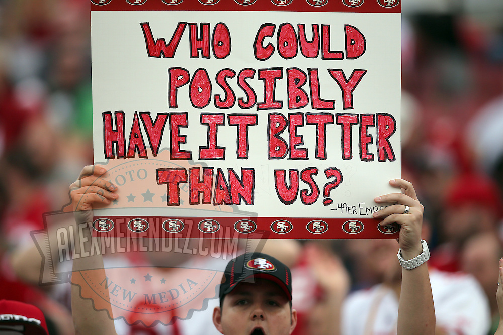 49ers fan holds up a sign during an NFL football game between the San Francisco 49ers  and the Tampa Bay Buccaneers on Sunday, December 15, 2013 at Raymond James Stadium in Tampa, Florida.. (Photo/Alex Menendez)