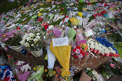 © licensed to London News Pictures. London, UK 29/05/2013. Flowers left at the scene where Drummer Lee Rigby was murdered by two men in Woolwich town centre in what is being described as a terrorist attack. Photo credit: Tolga Akmen/LNP
