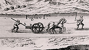 Plough used to deepen navigable rivers and canals. From 'Architecture Hydraulique' by  Bernard Forest de Belidor (Paris, 1737). Copperplate engraving.