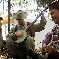 Jeff Black, left, from Birmingham, and Daniel Dean, from Montgomery, played music around their confederate camp as reenactors prepare for the Battle of Perryville, which serves as the national Civil War reenactment for 2006, at the Perryville Battlefield in Perryville, Ky. on Oct. 6, 2006. On Saturday and Sunday, thousands of soldiers will reenact three battles which took place David Stephenson/Staff