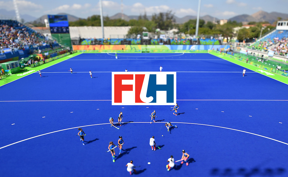 This picture made using a tilt-shift lens shows the women's field hockey Argentina vs India match of the Rio 2016 Olympics Games at the Olympic Hockey Centre in Rio de Janeiro on August, 13 2016. / AFP / MANAN VATSYAYANA        (Photo credit should read MANAN VATSYAYANA/AFP/Getty Images)