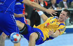 Kim Andersson (5) of Sweden during 21st Men's World Handball Championship 2009 Main round Group I match between National teams of France and Sweden, on January 24, 2009, in Arena Zagreb, Zagreb, Croatia.  (Photo by Vid Ponikvar / Sportida)
