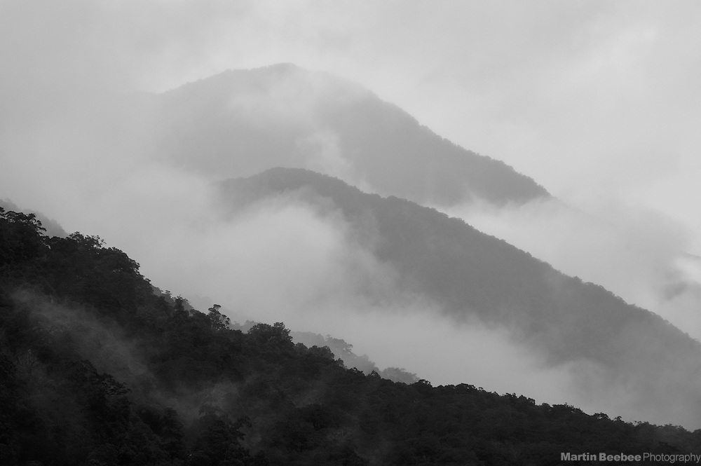 Mountain ridges emerging from the fog, Mount Aspiring National Park, New Zealand