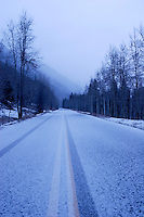 Maroon Creek Road in Snowstorm, White River National Forest, Colorado