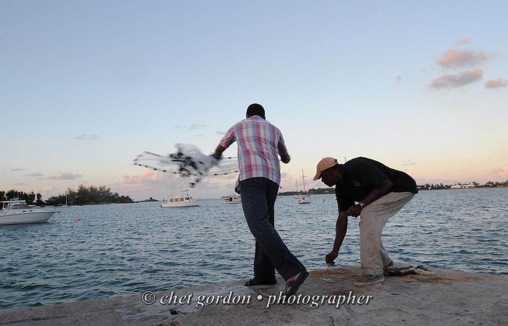 Bermudian fisherman work along the Mangrove Bay Wharf in Sandy's Parish, Bermuda on Tuesday, September 18, 2012.