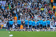 Real Madrid players applaud their fans ahead of the Champions League match between Manchester City and Real Madrid at the Etihad Stadium, Manchester, England on 26 April 2016. Photo by Shane Healey.