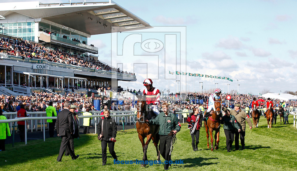 Picture by John Hoy/Focus Images Ltd. 07583422396.12/03/12.The placed horses return after the John Smith's Fox Hunters' Chase at Aintree Race Course, Liverpool.
