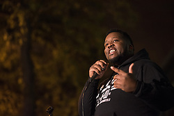 October 20, 2016 - Chicago, United States - Martinez Sutton, brother of police shooting victim Rekia Boyd, speaks at a Laquan Day rally in Chicago on October 20, 2016. Over 200 people gathered outside Chicago Police Headquarters to commemorate the life of 17-year-old police shooting victim Laquan McDonald on the two year anniversary of his death. (Credit Image: © Max Herman/NurPhoto via ZUMA Press)