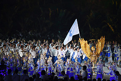 JAKARTA, Aug. 18, 2018  Delegation of the Democratic People's Republic of Korea (DPRK) and South Korea march under a unified flag of the Korean Peninsula during the opening ceremony of the 18th Asian Games at Gelora Bung Karno (GBK) Main Stadium in Jakarta, Indonesia, Aug. 18, 2018. (Credit Image: © Du Yu/Xinhua via ZUMA Wire)