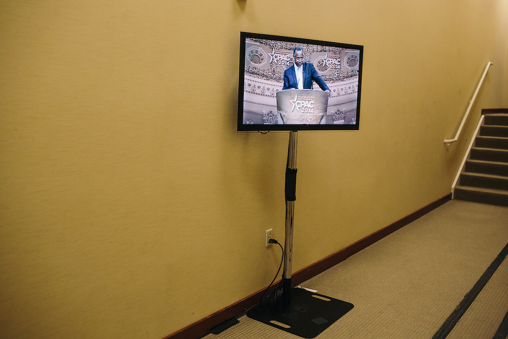 Dr. Ben Carson is shown on a screen backstage while he speaks during the final day of the Conservative Political Action Conference (CPAC) at the Gaylord National Resort & Convention Center in National Harbor, Md.