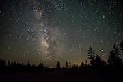 The Milky Way rests above the rim of Crater Lake, Oregon
