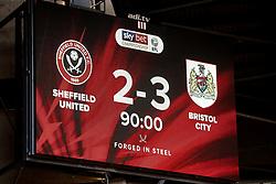 The scoreboard at Bramall Lane showing Sheffield United 2-3 Bristol City - Mandatory by-line: Robbie Stephenson/JMP - 30/03/2019 - FOOTBALL - Bramall Lane - Sheffield, England - Sheffield United v Bristol City - Sky Bet Championship