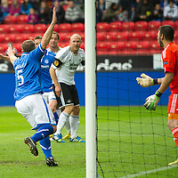 Rosenborg v St Johnstone....18.07.13  UEFA Europa League Qualifier.<br /> Frazer Wright celebrates his goal<br /> Picture by Graeme Hart.<br /> Copyright Perthshire Picture Agency<br /> Tel: 01738 623350  Mobile: 07990 594431