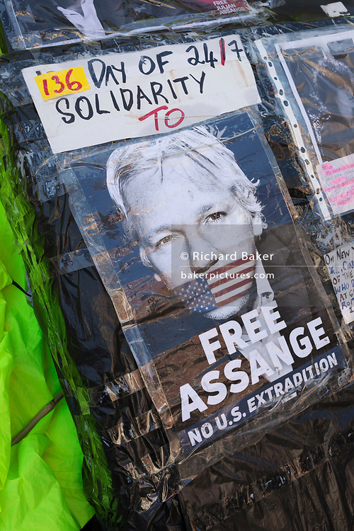 Hours after the Wikileaks co-founder Julian Assange was forcibly removed from the Ecuadorian embassy by British police, after his 7-year occupancy, political posters adorn the exterior in Knightsbridge, on 11th April 2019, in London England.