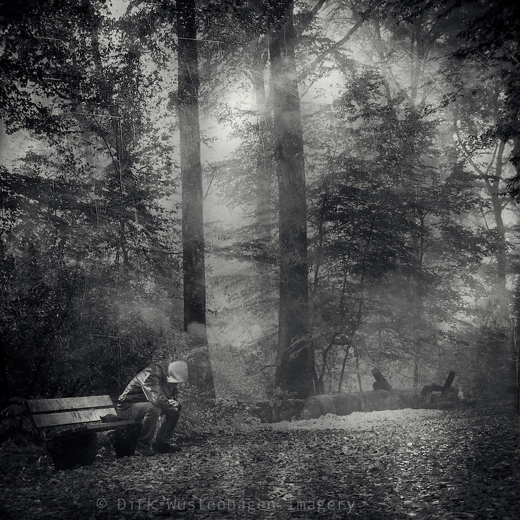 Man - sitting on a bench in a hazy forest<br /> <br /> Prints &amp; more: http://society6.com/DirkWuestenhagenImagery/man-getting-some-peace_Print