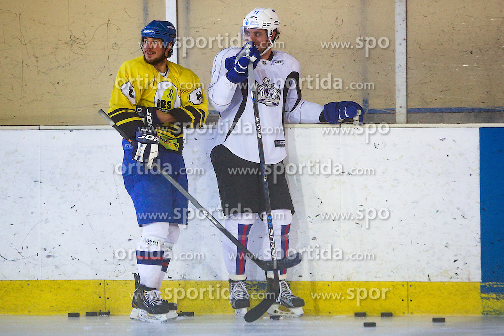 Anze Kopitar, NHL star and player of Los Angeles Kings and Jaka Ankerst during practice session and press conference before Kopitar's departure to USA, on August 28, 2014 in Ledna dvorana Bled, Slovenia. Photo by Matic Klansek Velej  / Sportida.com