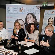 NLD/Amsterdam/20100310 - Presentatie van de 4de editie van het blad Helden, Frits Barend en dochter Barbara, Tim Koeman en zus Debby Koeman
