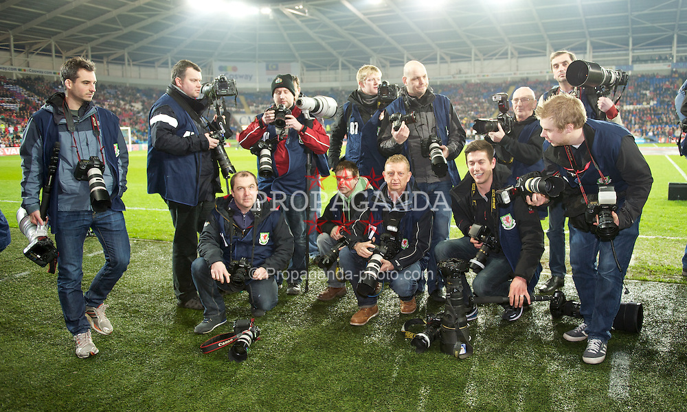 CARDIFF, WALES - Wednesday, February 29, 2012: Press photographers prepare to photograph the first match of the new Wales manager Chris Coleman before the international friendly match against Costa Rica at the Cardiff City Stadium. (Pic by David Rawcliffe/Propaganda)