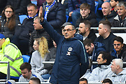 Chelsea manager Maurizio Sarri during the Premier League match between Cardiff City and Chelsea at the Cardiff City Stadium, Cardiff, Wales on 31 March 2019.