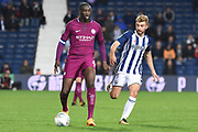 West Bromwich Albion midfielder James Morrison (7) keeps an eye on Manchester City midfielder Yaya Toure (42) 1-1 during the EFL Cup match between West Bromwich Albion and Manchester City at The Hawthorns, West Bromwich, England on 20 September 2017. Photo by Alan Franklin.