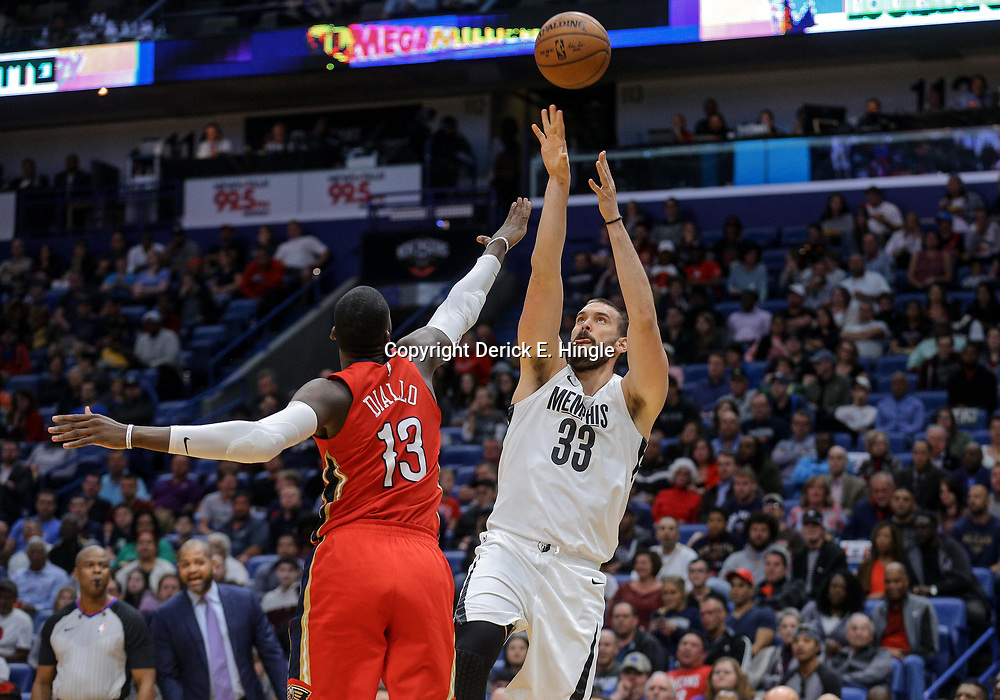 Apr 4, 2018; New Orleans, LA, USA; Memphis Grizzlies center Marc Gasol (33) shoots over New Orleans Pelicans forward Cheick Diallo (13) during the second quarter at the Smoothie King Center. Mandatory Credit: Derick E. Hingle-USA TODAY Sports