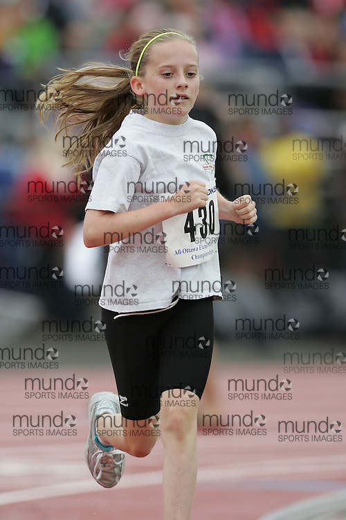 (Ottawa, Ontario}---26 June 2010)  Vanessa Cholette in the 1500m at the 2010 All-Elementary Schools Ottawa and Region Championship and Ottawa Lions High Performance Invitational. Photograph copyright Sean Burges / Mundo Sport Images, 2010. info@mundosportimages.com