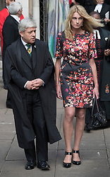 © Licensed to London News Pictures. 20/06/2016. London, UK. Speaker John Bercow and his wife Sally Bercow leave St Margaret's Church, Westminster Abbey after taking part in a Service of Prayer and Remembrance to commemorate Jo Cox MP, who was killed in her constituency on June 16, 2016. Photo credit: Peter Macdiarmid/LNP