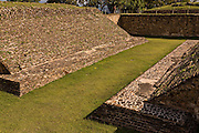 The ball game court of Monte Albán pre-Columbian archaeological site in the Santa Cruz Xoxocotlán, Oaxaca, Mexico.