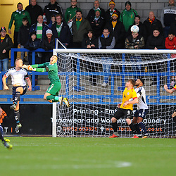 TELFORD COPYRIGHT MIKE SHERIDAN 1/12/2018 - Andy Wycherley of AFC Telford is left stranded after coming for a cross during the Vanarama Conference North fixture between AFC Telford United and Bradford Park Avenue AFC.