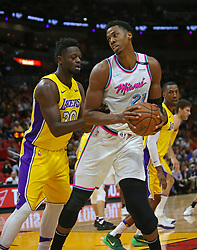 March 1, 2018 - Miami, FL, USA - The Miami Heat's Hassan Whiteside, right, works against the Los Angeles Lakers' Julius Randle during the first quarter at the AmericanAirlines Arena in Miami on Thursday, March 1, 2018. The Lakers won, 131-113. (Credit Image: © David Santiago/TNS via ZUMA Wire)