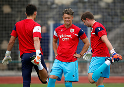 Bristol City goalkeepers Max O'Leary, Ivan Lucic and Frank Fielding warm up - Mandatory by-line: Matt McNulty/JMP - 22/07/2017 - FOOTBALL - Tenerife Top Training - Costa Adeje, Tenerife - Bristol City v Atletico Union Guimar  - Pre-Season Friendly
