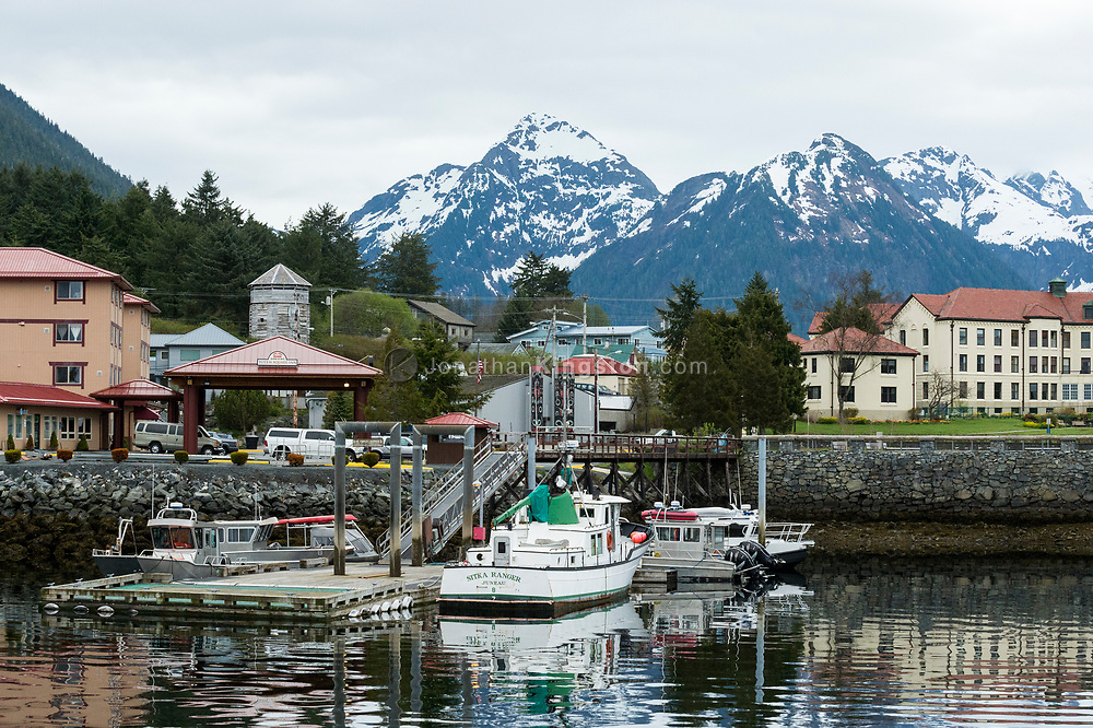 A floating dock in Sitka, Alaska.