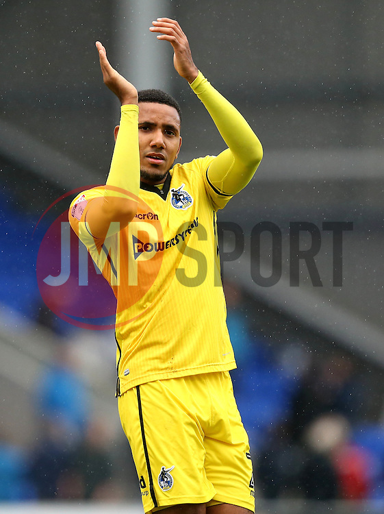 Cristian Montano of Bristol Rovers applauds the fans after the win over Oldham Athletic - Mandatory by-line: Robbie Stephenson/JMP - 22/10/2016 - FOOTBALL - Sportsdirect.com Park - Oldham, England - Oldham Athletic v Bristol Rovers - Sky Bet League One