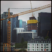 2017 JULY 27 - New building under construction in downtown, Seattle, WA, USA. Taken/edited with Instagram App for iPhone. By Richard Walker
