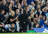 Football - 2016/2017 Premier League - Chelsea V West Ham United. <br /> <br /> Chelsea Manager Antonio Conte turns to celebrate with the crowd after Chelsea take the lead at Stamford Bridge.<br /> <br /> COLORSPORT/DANIEL BEARHAM