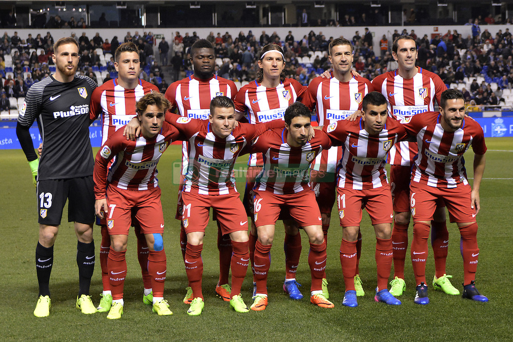 March 2, 2017 - La Coruna, Spain - Atletico de Madrid starting lineup. La Liga Santander Matchday 25. Riazor Stadium, La Coruna, Spain. March 02, 2017. (Credit Image: © Monica Arcay Carro/VW Pics via ZUMA Wire/ZUMAPRESS.com)