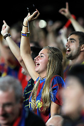 17.08.2011, Camp Nou, Barcelona, ESP, Supercup 2011, FC Barcelona vs Real Madrid, im Bild FC Barcelona's fan during Spanish Supercup 2nd match.August 17,2011. EXPA Pictures © 2011, PhotoCredit: EXPA/ Alterphotos/ Acero +++++ ATTENTION - OUT OF SPAIN / ESP +++++