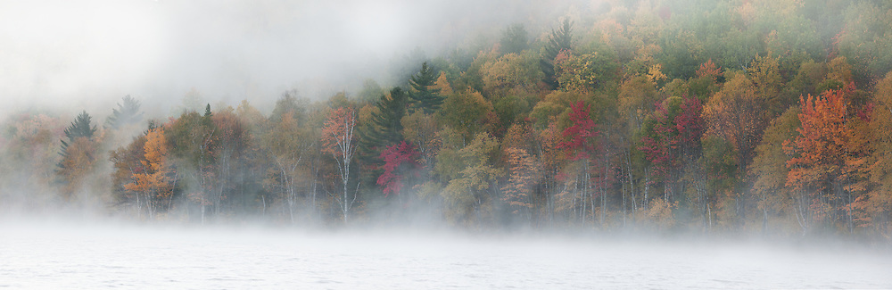 The rich fall colors on Southbranch Mountain are almost engulfed in swirling fog on this autumn morning in the North Woods of Maine.