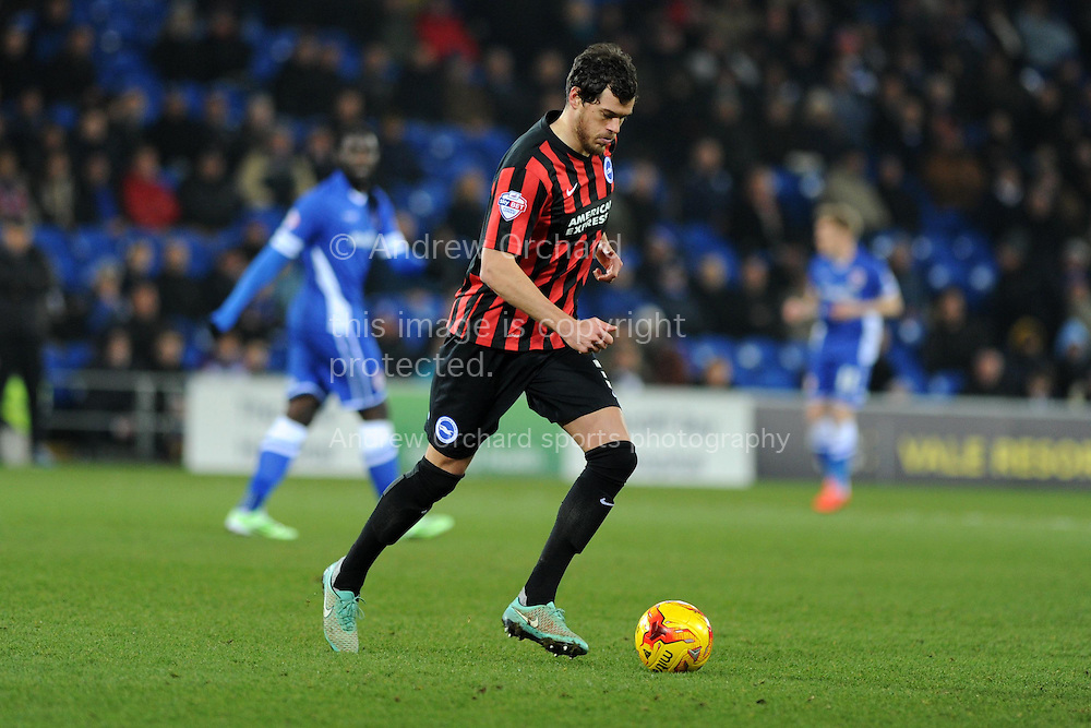 Gordon Greer of Brighton in action. Skybet football league championship match, Cardiff city v Brighton &amp; Hove Albion at the Cardiff city Stadium in Cardiff, South Wales on Tuesday 10th Feb 2015.<br /> pic by Andrew Orchard, Andrew Orchard sports photography.