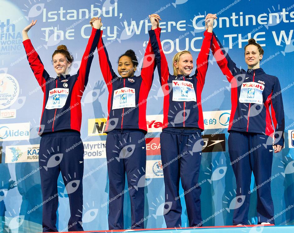 USA Gold Medal  .Women 4x100m Freestyle.FINA World Short Course Swimming Championships.Istanbul Turkey 12 - 16 Dec. 2012.Day 04.Photo G.Scala/Deepbluemedia/Inside